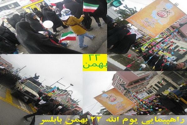 راهپیمایی 22 بهمن در بابلسر در میان باد و باران+ عکس